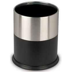 Corbeille à papier avec anneau 15 litres inox satiné