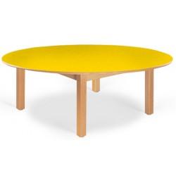 Table maternelle ovale Lola hêtre vernis mélaminé PVC 150x90 cm TC à T3