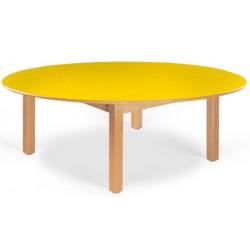 Table maternelle ovale Lola hêtre vernis mélaminé PVC 120x90 cm TC à T3