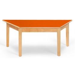 Table maternelle trapèze Lola hêtre vernis stratifié alaise bois 120x60x60 cm TC à T3