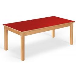 Table maternelle Lola hêtre vernis stratifié alaise bois 200x80 cm TC à T3