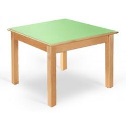 Table maternelle Lola hêtre vernis mélaminé PVC 60x50 cm TC à T3