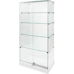 Vitrine d'exposition socle blanc et plafond verre sans éclairage L80xP37xH180 cm