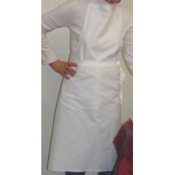 Lot de 30 tabliers bavette coton blanc avec poche 100x116 cm