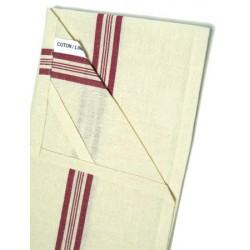 Lot de 200 torchons coton et lin écru liteaux rouge 60x80 cm