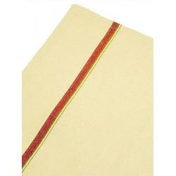 Lot de 100 torchons coton écru liteaux couleur 50x75 cm