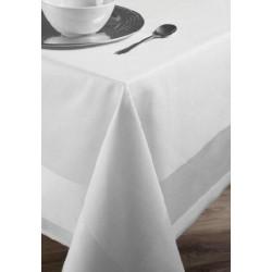 Lot de 50 serviettes de table 50x50 cm bandes satin 220g blanc