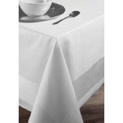 Lot de 50 serviettes de table 50x50 cm bandes satin 220g blanc