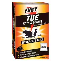 Lot 12 boites de 6 sachets 25g rats et souris Fury avec boîte appâts sécurisée