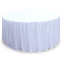 Lot de 10 nappes polyester 180 gr blanches diam 178 cm