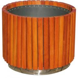 Jardinière bois exotique avec bac inox diamètre 67xH54 cm