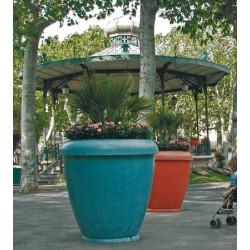 Jardinière bambou pot en béton vernisse bleu diam 100xH100 cm
