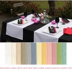 Lot de 10 chemins de table 55x140 cm polycoton coloris pastel