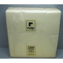 Carton de 18 paquets de 100 serviettes ouate 20 x 20 cm ivoire