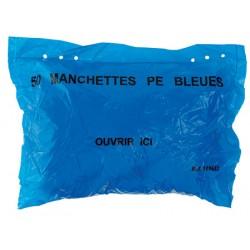 Paquet de 50 manchettes pe 15 microns 50 cm bleu