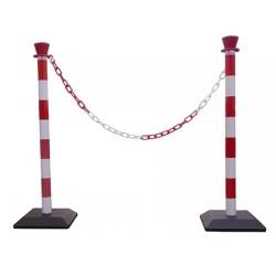 Kit de 2 poteaux pvc à monter rouge et blanc avec chaine