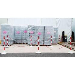 Kit de 6 poteaux acier rouge et blanc avec 12 crochets et chaine 15 m
