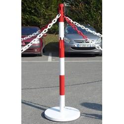 Kit extension 1 poteau acier rouge et blanc avec 2 crochets et chaine 2 m