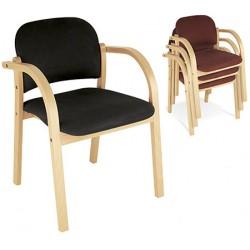 Lot de 3 fauteuils empilables Elva finition tissu groupe 0