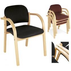 Lot de 3 fauteuils empilables et assemblables Elva finition tissu groupe 0