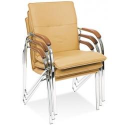 Lot de 2 fauteuils empilables Samba tissu groupe 0 pieds chromé