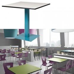 Table à piétement central carré Mathilde stratifié chants surmoulés 80 x 80 cm