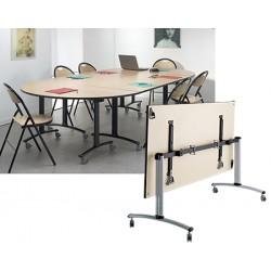 Table rabattable mobile Celcius 1/2 ROND 160x80 mélaminé 22 mm chant PVC