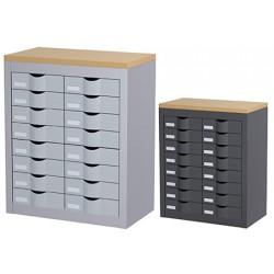 Meuble de classement 2 colonnes 16 tiroirs L60,5 X P33,5 X H75 cm
