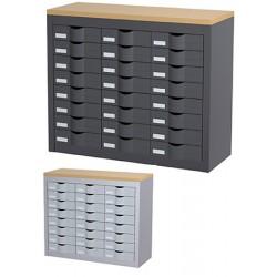 Meuble de classement 3 colonnes 24 tiroirs L87 X P33,5 X H75 cm