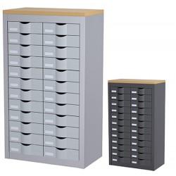 Meuble de classement 2 colonnes 24 tiroirs L87 x P33,5 x H167 cm